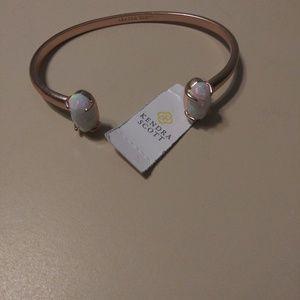 Edie Rose Gold Cuff  (White Kyocera Opal)